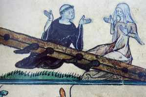 Miniature of a monk and his mistress in the stocks